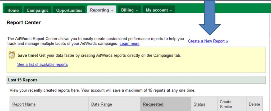Google report centre screenshot