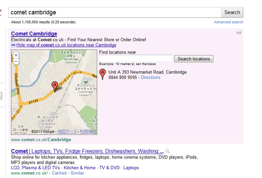 Google Adwords Location Extensions Open