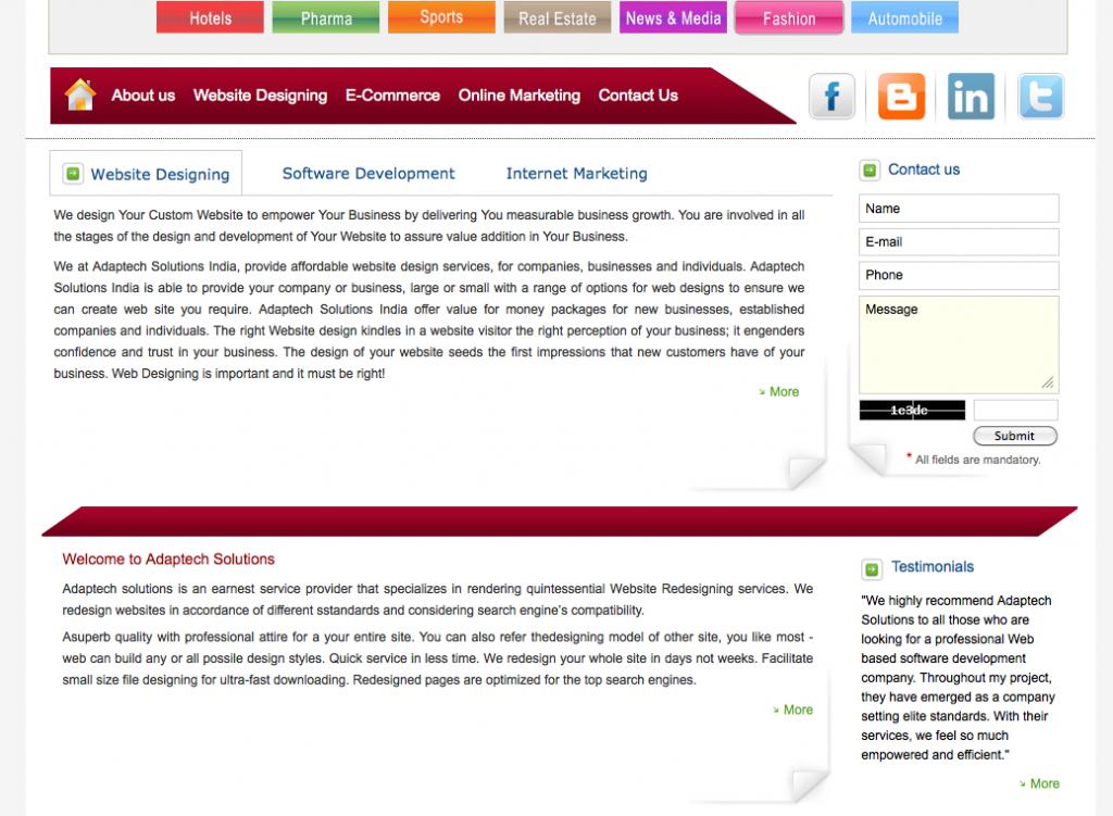 genuine screenshot of dodgy web marketing firm