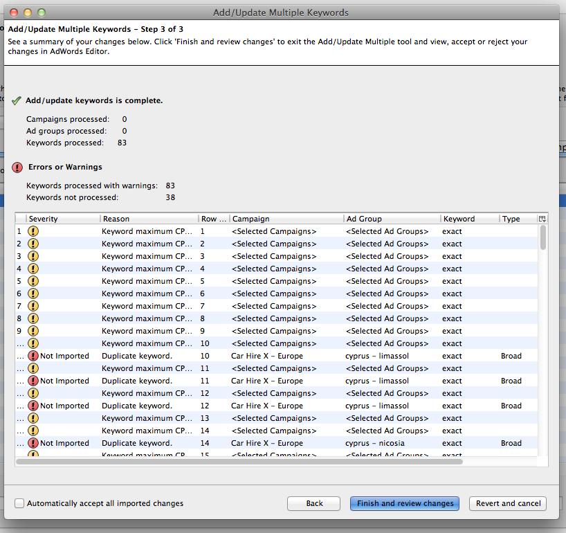 Adwords Editor 9.5 bug mangles my import