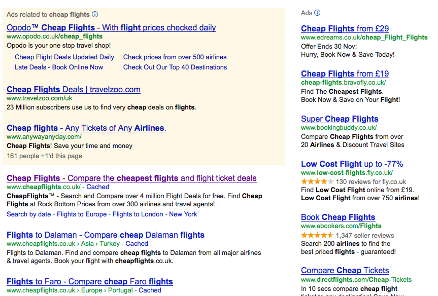 Screen Shot of Adwords ad sitelinks extension in use
