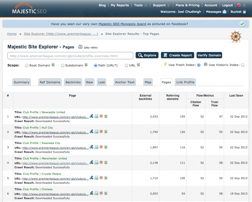 MajesticSEO Wildcard Site Explorer Analysis