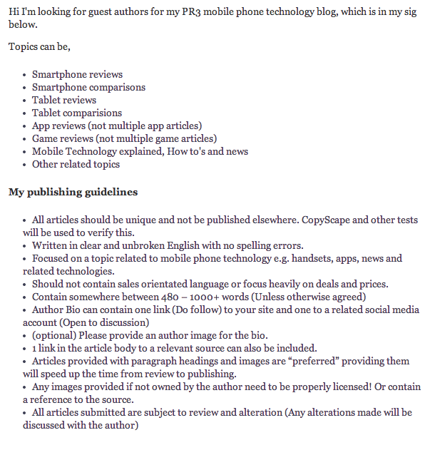 My Guest Blog posting guidelines