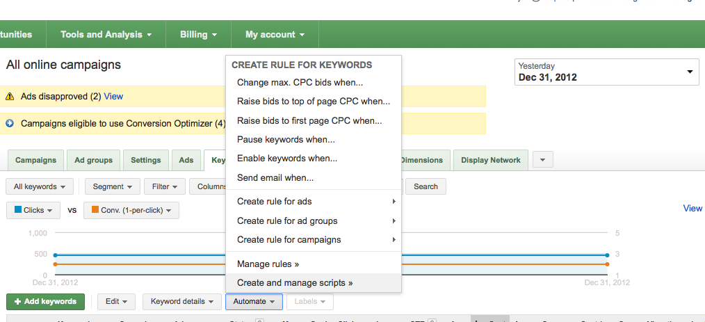 automated bidding rules screenshot from Adwords