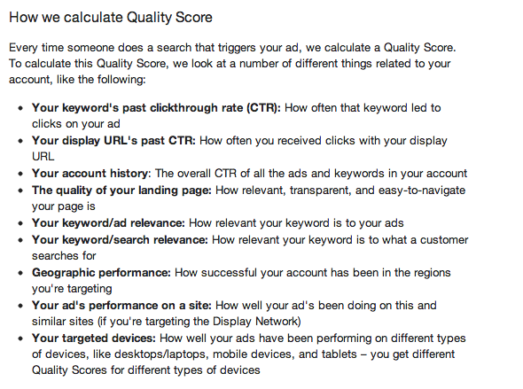 How Google calculate Adwords quality score