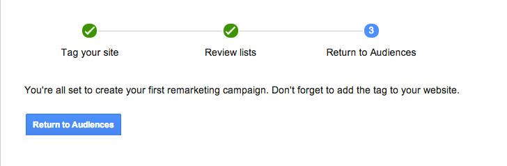 Final step in dynamic remarketing set up